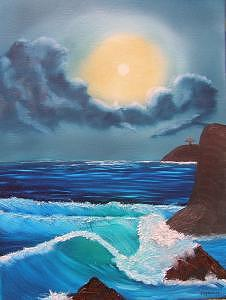 Midnight Ocean Painting by Sheldon Morgan