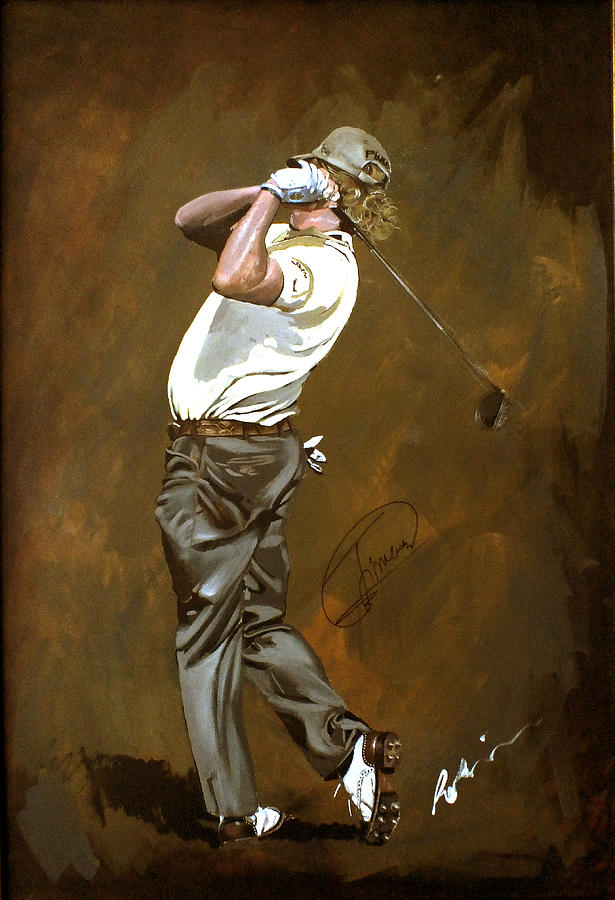 Miguel Angel Jimenez Painting - Miguel Angel Jimenez by Mark Robinson