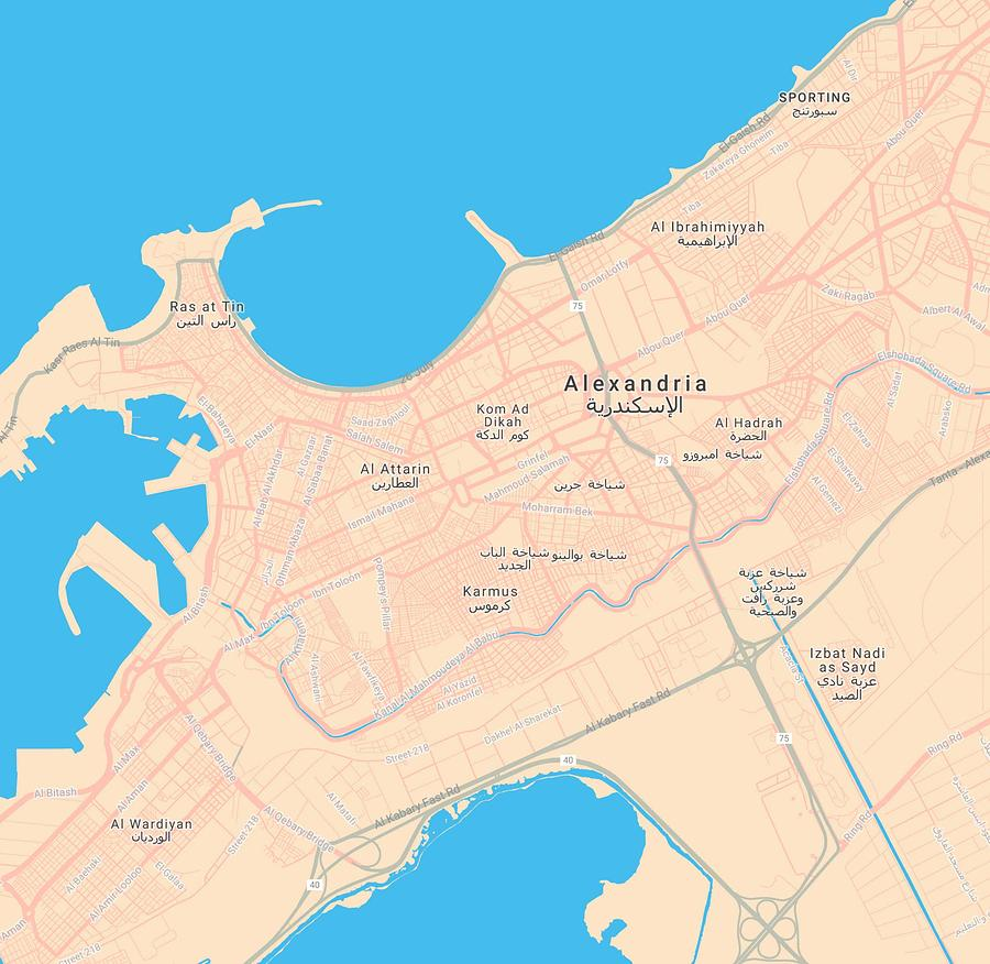 Minimalist Modern Map Of Downtown Alexandria, Egypt 2a by Celestial Images