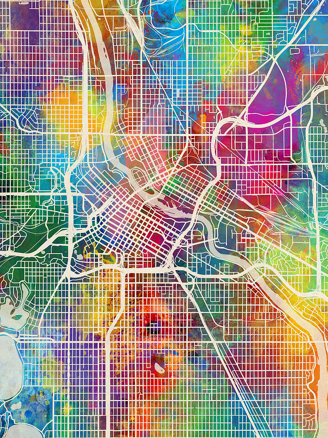 Minneapolis Digital Art - Minneapolis Minnesota City Map by Michael Tompsett