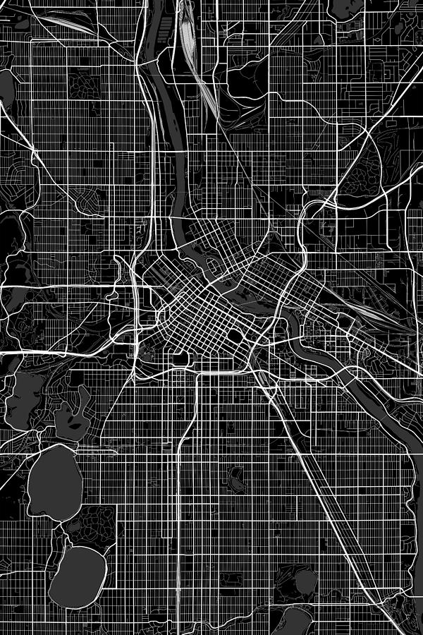 Minneapolis Minnesota Usa Dark Map