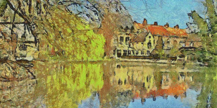 Belgium Digital Art - Minnewater Lake in Bruges Belgium by Digital Photographic Arts