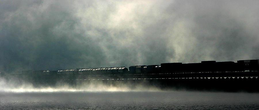 Train Photograph - Misty Crossing by Marie-Dominique Verdier