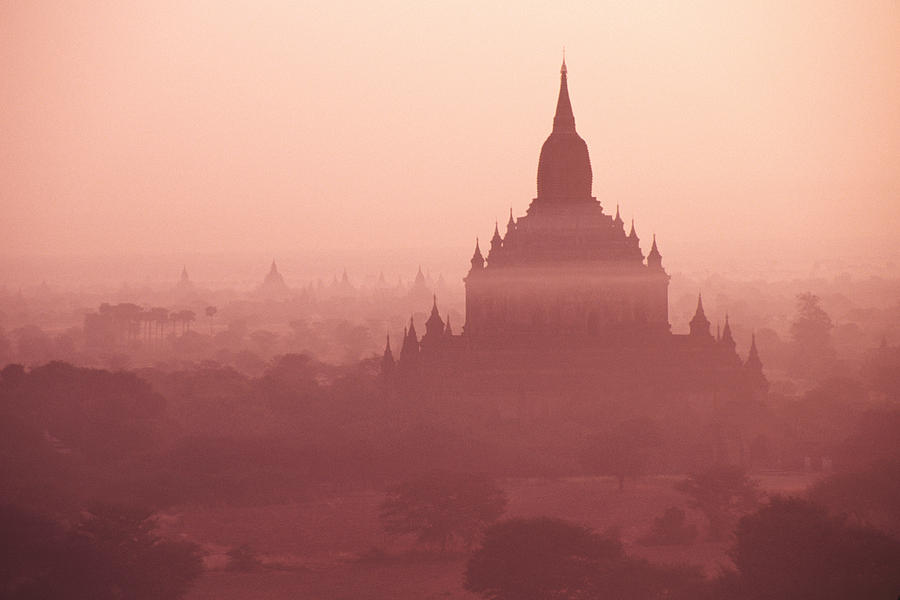 Mist Photograph - Misty Dawn In Bagan by Michele Burgess