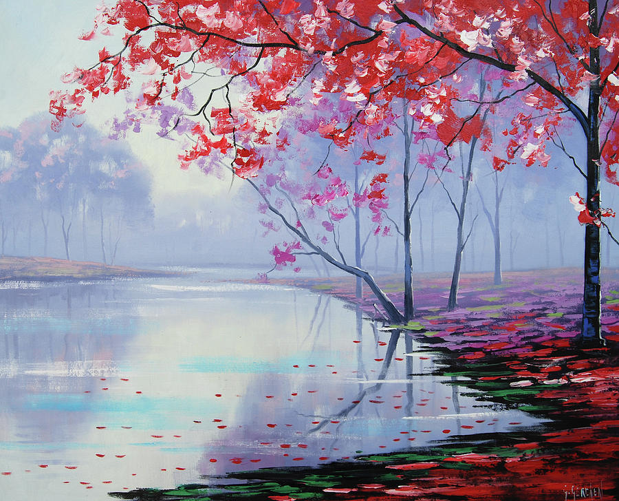 Pink Trees Painting - Misty Lake by Graham Gercken