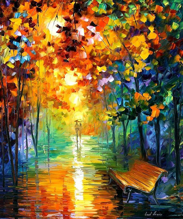 Afremov Painting - Misty Park by Leonid Afremov