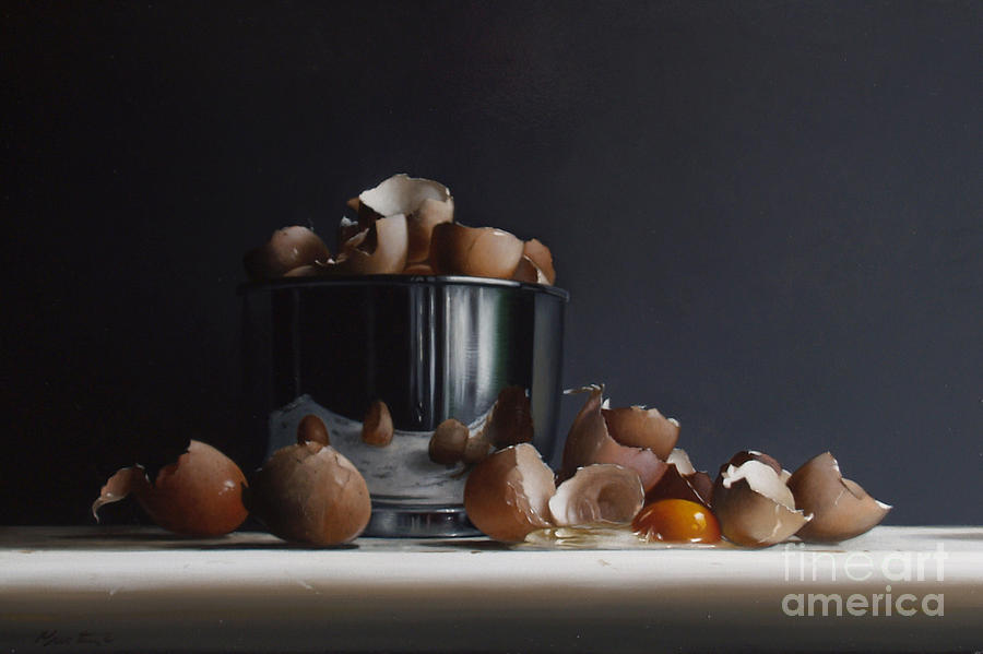 Still Painting - Mixing Bowl With Eggs by Larry Preston