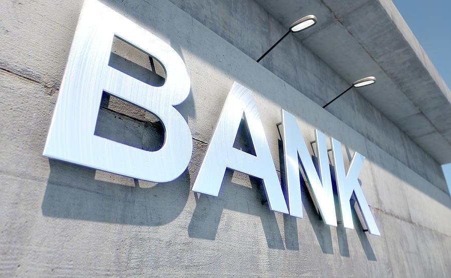 Bank Digital Art - Modern Bank Building Signage by Allan Swart