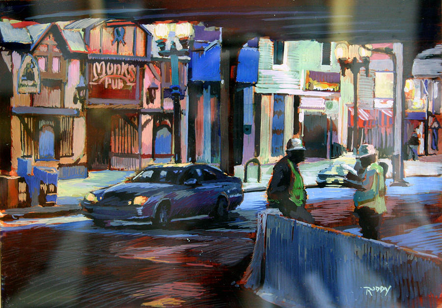 Cityscape Painting - Monks Pub by Stuart Roddy