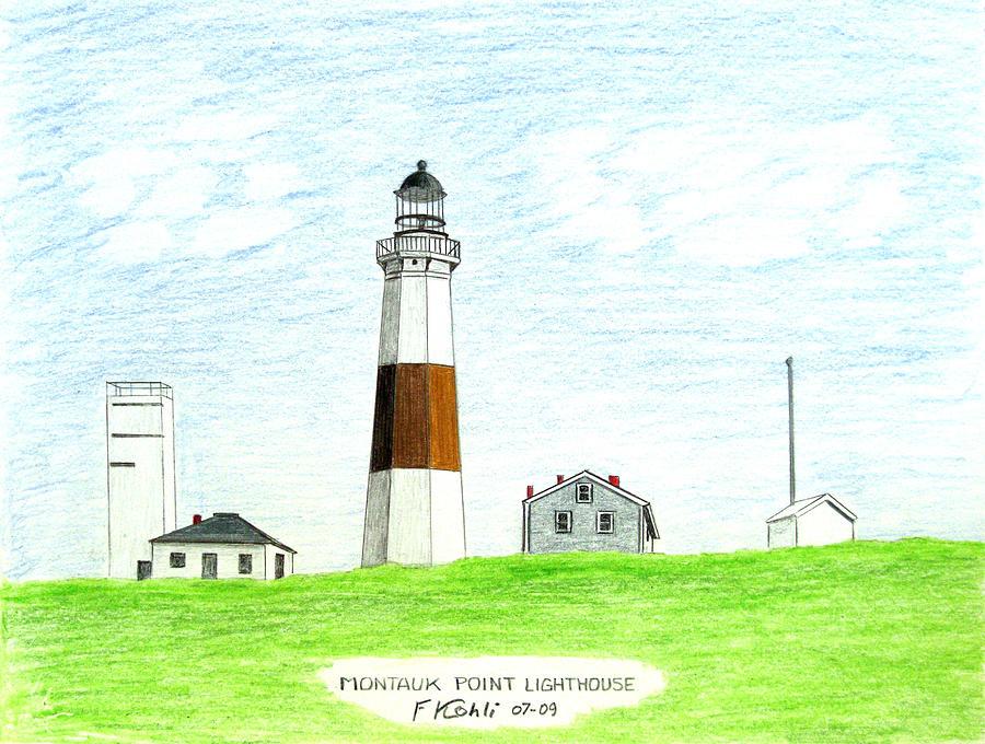 Seacoast Drawing - Montauk Point Lighthouse by Frederic Kohli