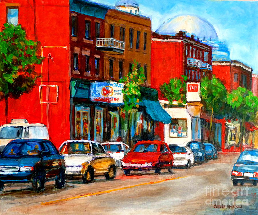 St.viateur Bagel Painting - Montreal Paintings by Carole Spandau