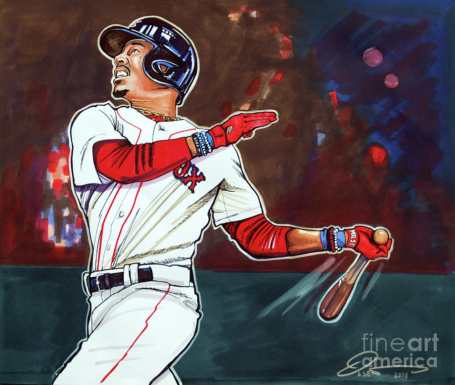 Mookie Betts Drawing By Dave Olsen