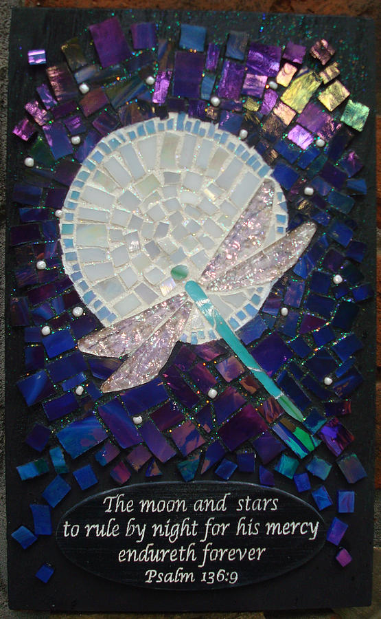 Dragonfly Glass Art - Moon And Stars by Karan Sargent