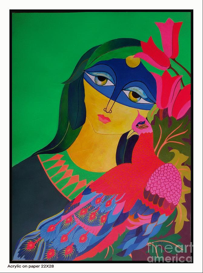 Moon Series Mixed Media - Peacock With Women by Shahzad Zar