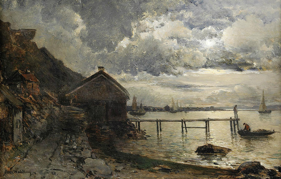 Swedish Painters Painting - Moonlight, Fjallbacka by Alfred Wahlberg