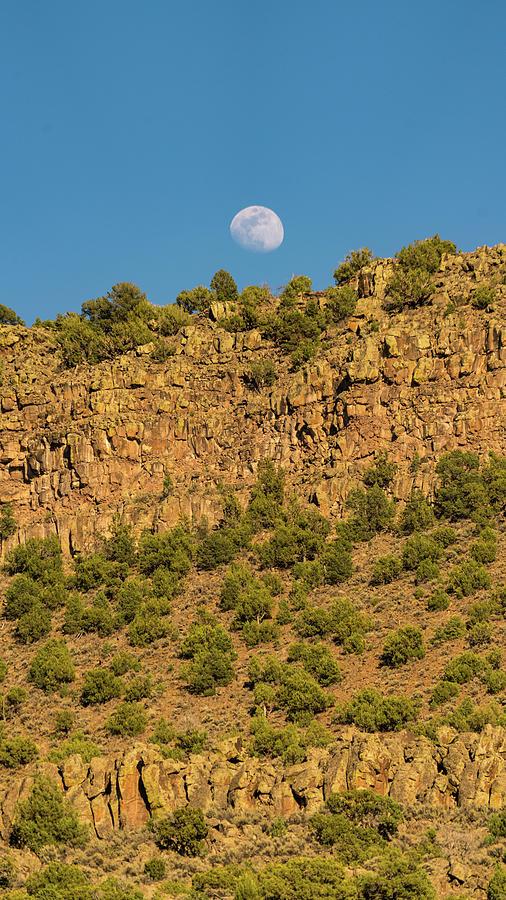 New Mexico Photograph - Moonrise Rio Grande Gorge Pilar New Mexico by Lawrence S Richardson Jr