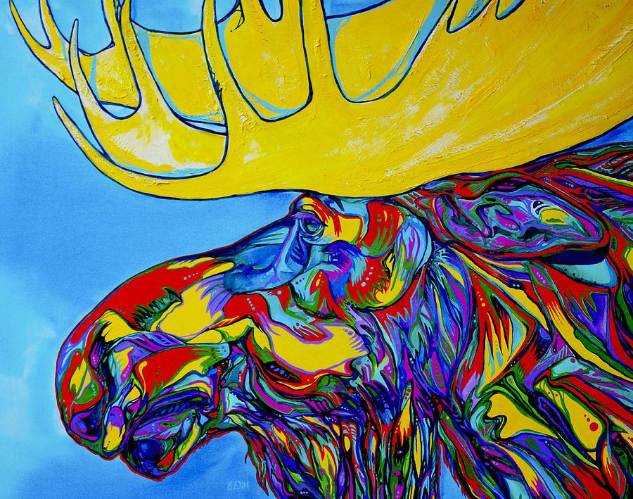 Elk Painting - Mega Moose by Derrick Higgins