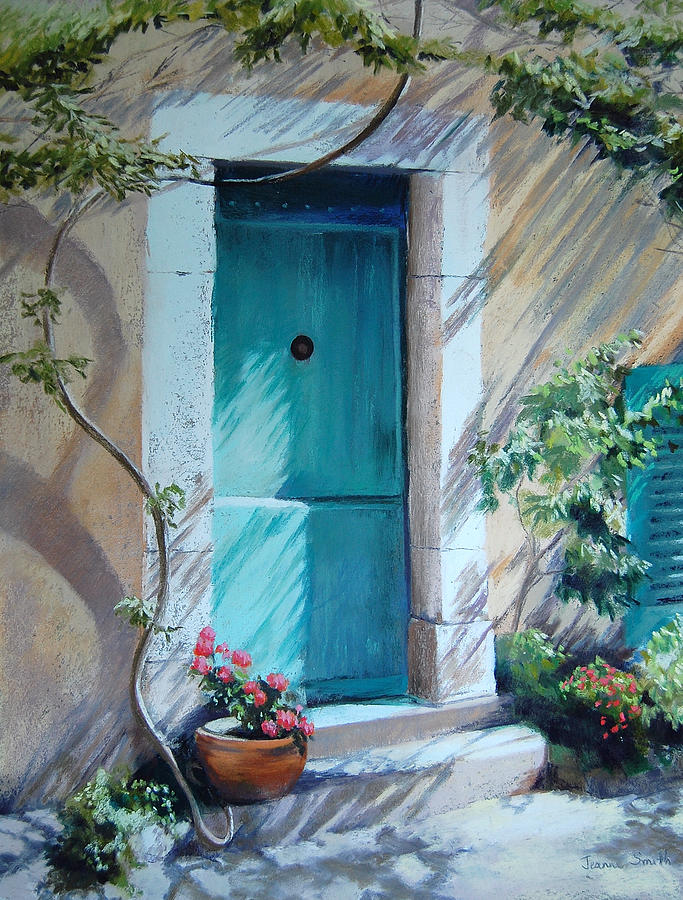 Blue Door Painting - Morning Light In Valbonne by Jeanne Rosier Smith