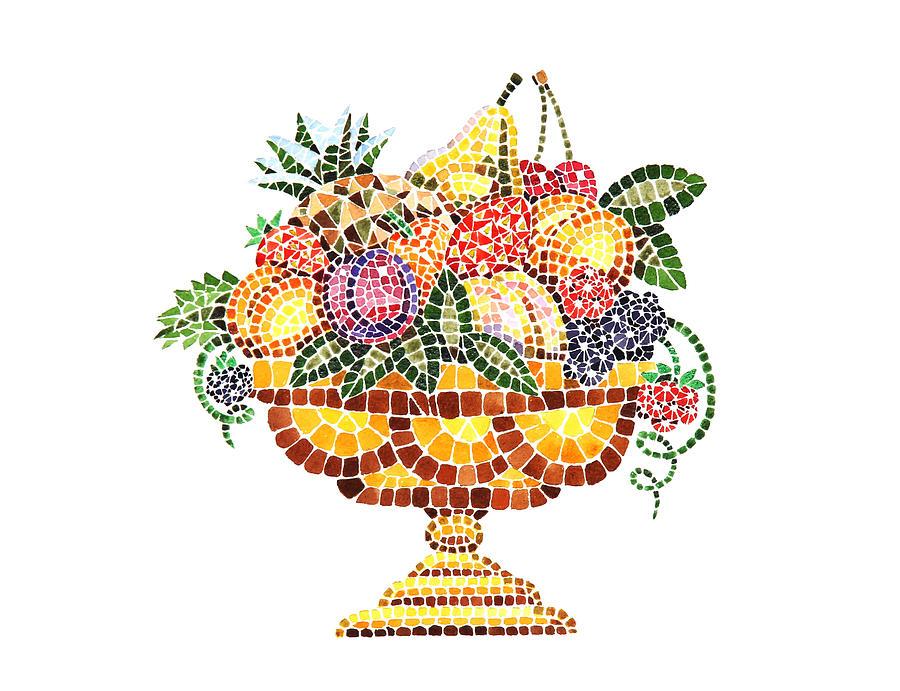 Mosaic Painting - Mosaic Fruit Vase by Irina Sztukowski