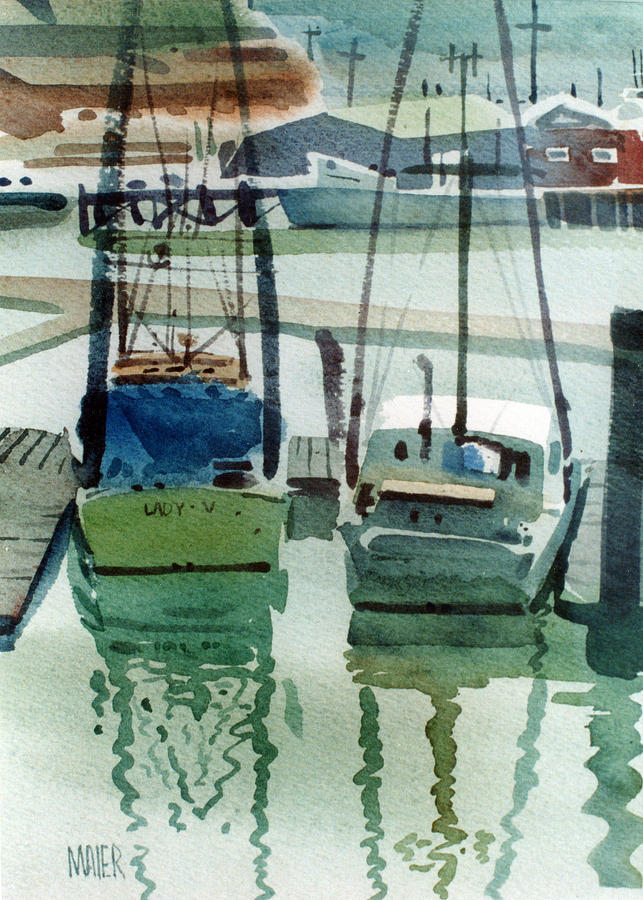 Fishing Boats Painting - Moss Landing by Donald Maier