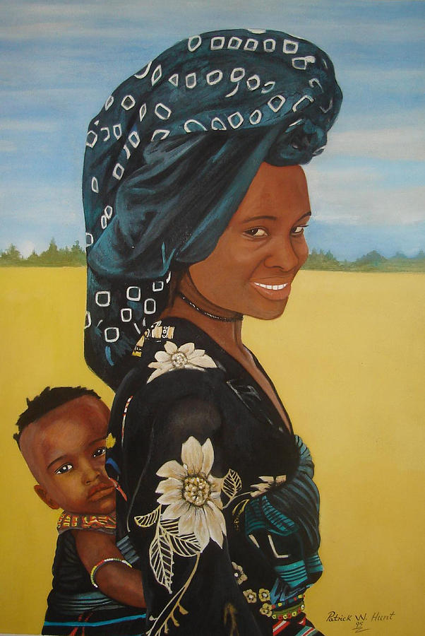African Mother And Child Painting - Mother And Child by Patrick Hunt