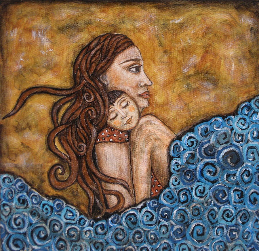 Mother And Child Painting By Rain Ririn