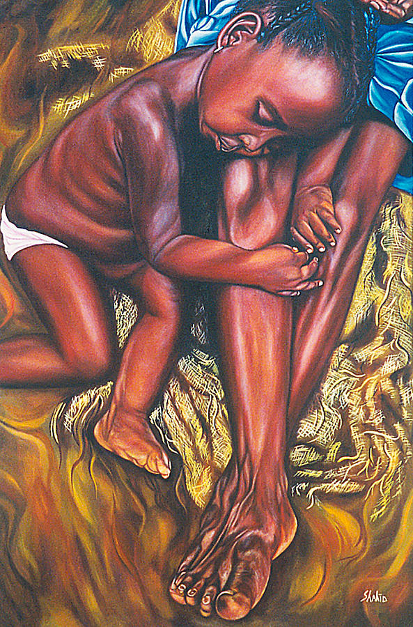 Figurative Painting - Mother And Child by Shahid Muqaddim