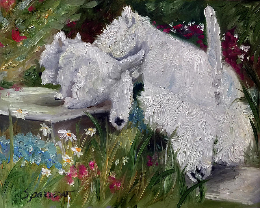 Westie Painting - Mothers Day by Mary Sparrow