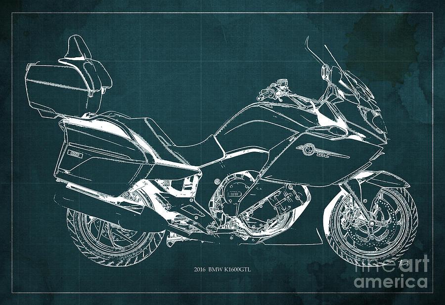 Motorcycle bmw k1600gtl 2016 original blueprint poster drawing by motorcycle drawing motorcycle bmw k1600gtl 2016 original blueprint poster by pablo franchi malvernweather Images