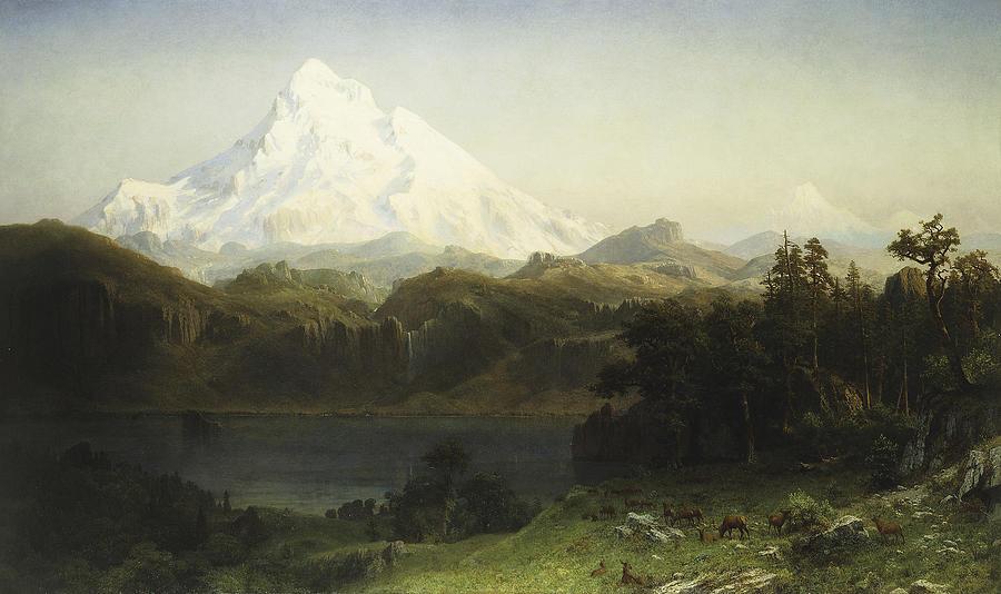 Albert Bierstadt Painting - Mount Hood In Oregon by MotionAge Designs