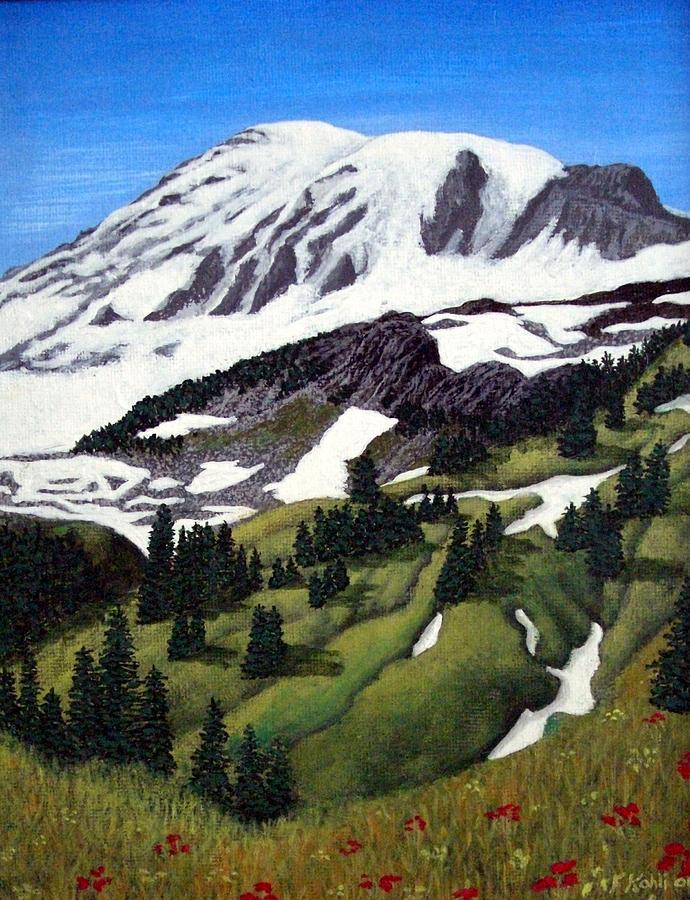 Landscape Paintings Painting - Mount Rainier by Frederic Kohli
