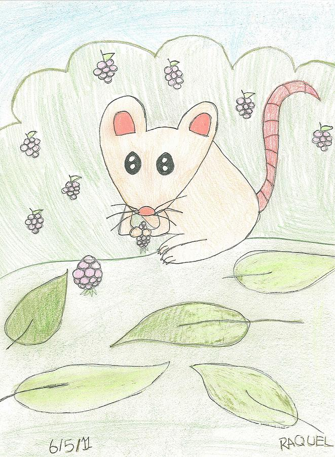 Mouse Drawing - Mouse Picking Berries by Fred Hanna