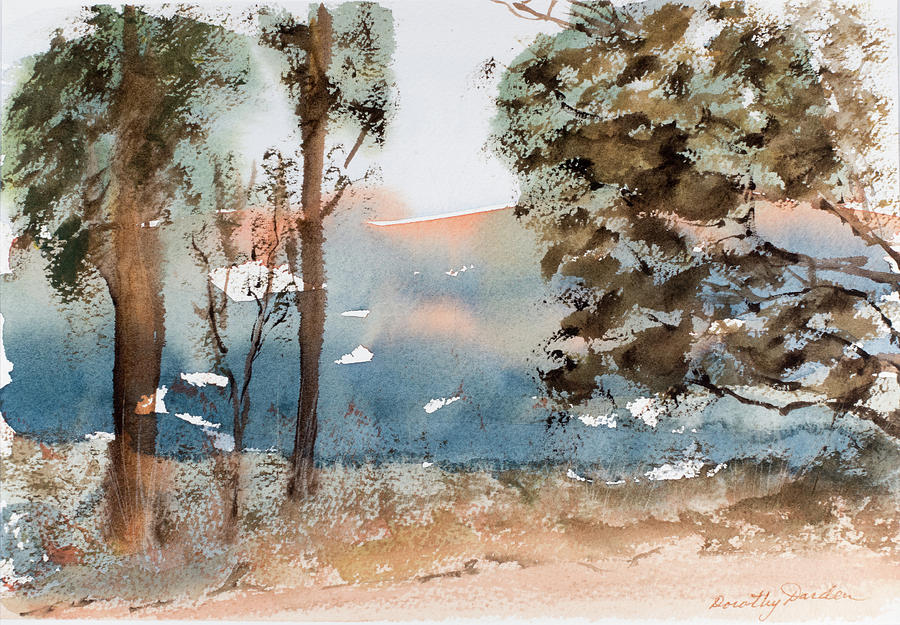 Mt Field Gum Tree Silhouettes against Salmon coloured Mountains by Dorothy Darden