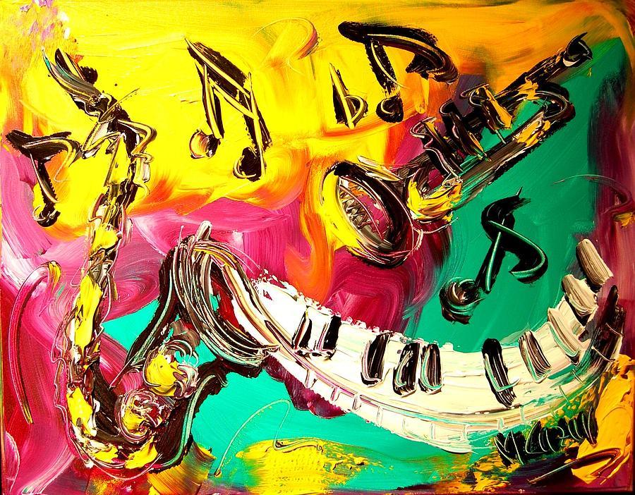 Newyork Painting - Music Jazz by Mark Kazav