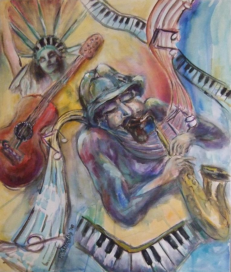 Music Painting - Music Man by Lee Anne Stieglitz