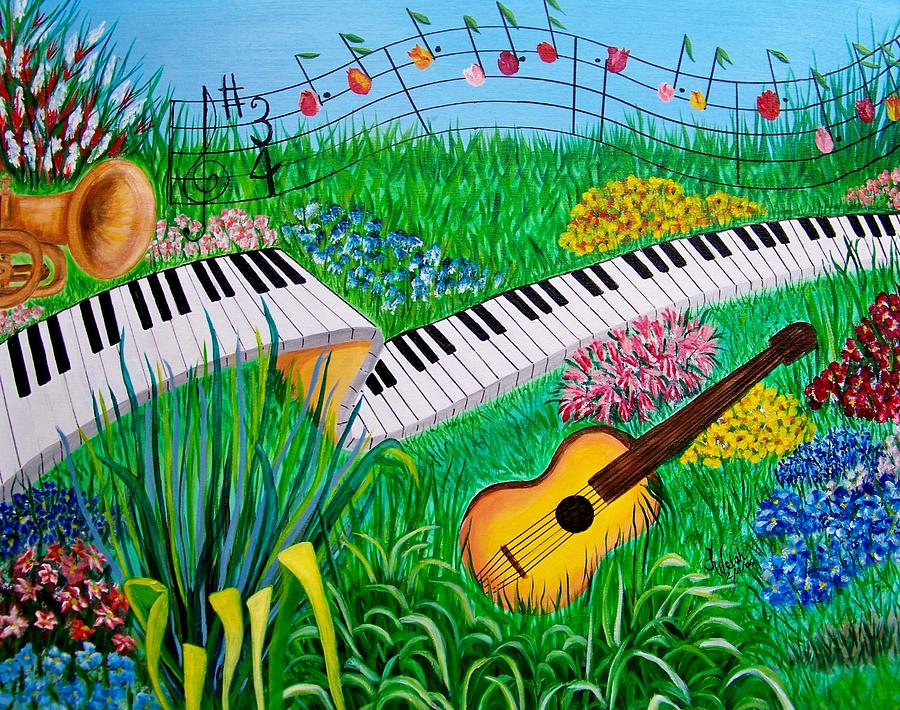 Music Painting - Musical Garden by Kathern Welsh