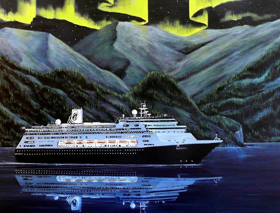 Ship Painting - Mv Zaandam Holland America by Bob Patterson