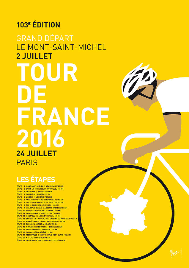 2016 Digital Art - My Tour De France Minimal Poster 2016 by Chungkong Art