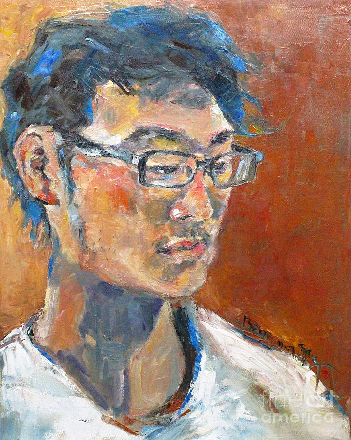 Portrait Painting - My Son by Becky Kim