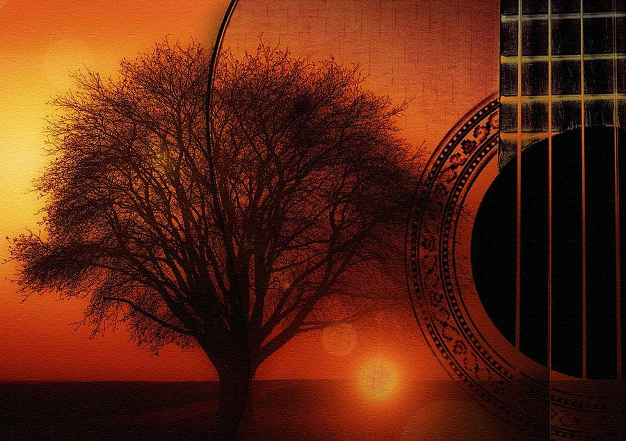 My Weeping Guitar Catus 1 No. 4 - Allegro For Guitar, One Tree Violin And Sunset Harpsichord Contin. Digital Art