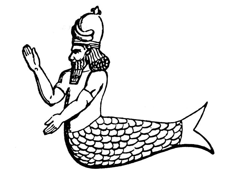 Ancient Photograph - Mythology: Oannes (dagon) by Granger