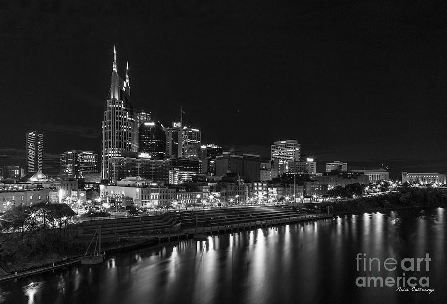 Music City Photograph - Nashville Nite Lights B W Broadway Street Cityscape Art by Reid Callaway