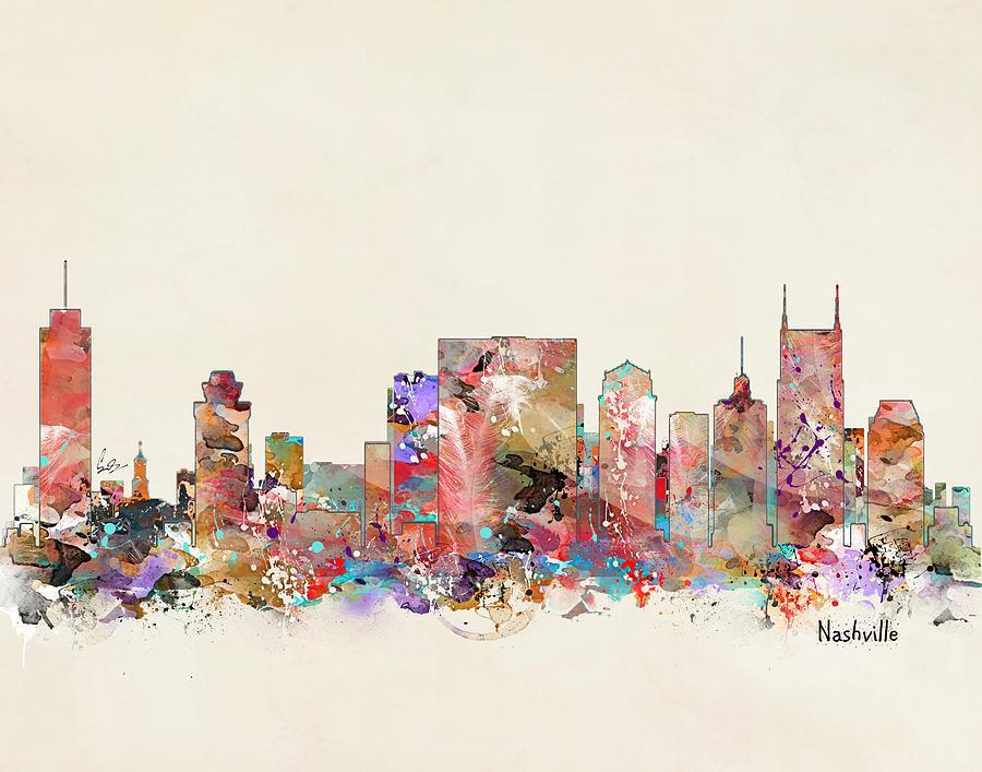 Nashville Tennessee Painting - Nashville Tennessee Skyline 1 by Bri Buckley