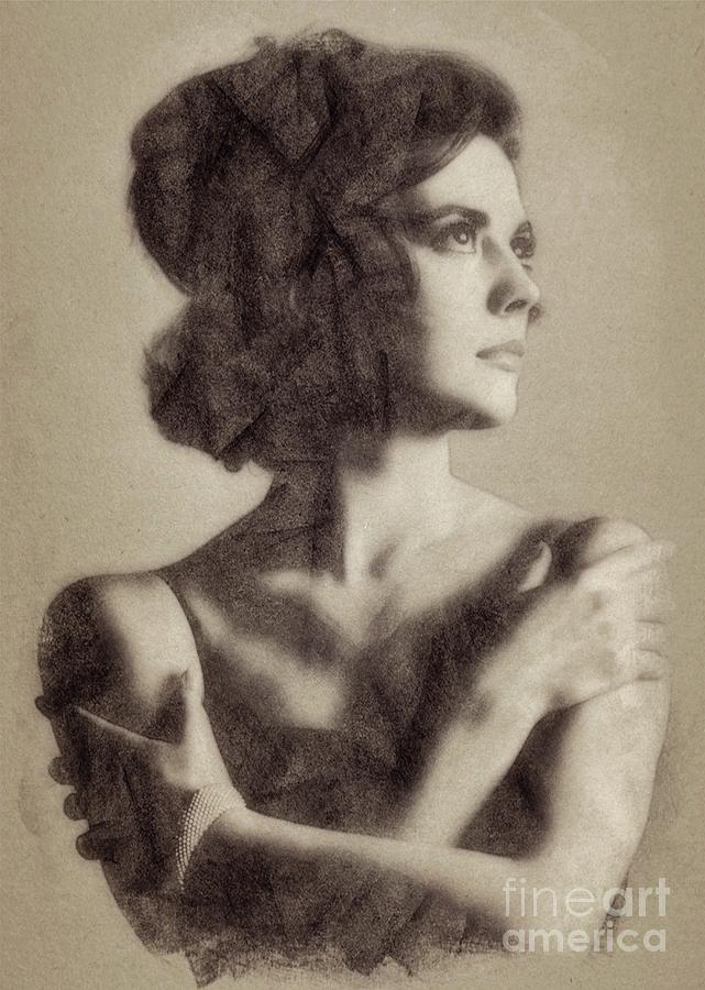 Natalie Wood, Vintage Actress By John Springfield Drawing