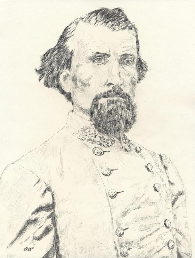 Nathan Bedford Forrest Drawing - Nathan Bedford Forrest by Dennis Larson