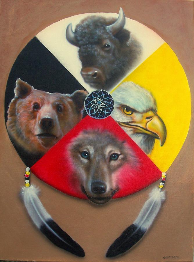 Native American Medicine Wheel Painting by Amatzia Baruchi