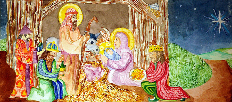 Christ Painting - Nativity by Jame Hayes
