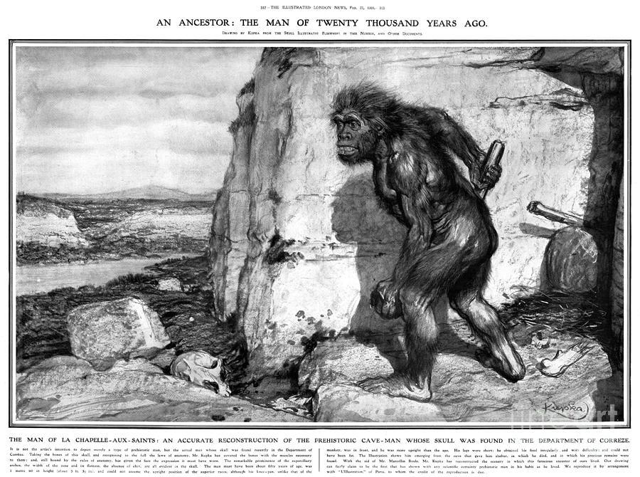 1909 Photograph - Neanderthal Man by Granger