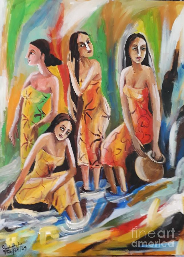 Figures Pastel - Near The Waterfall by Sudumenike Wijesooriya