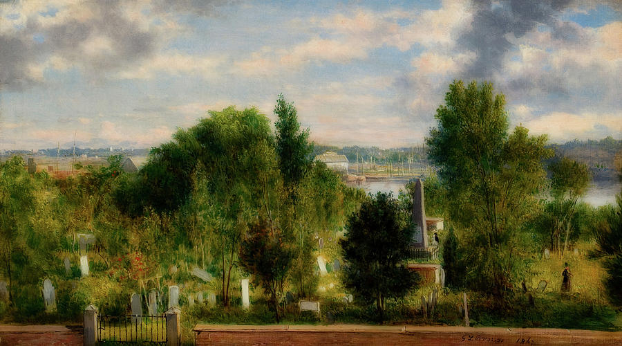 New England Landscape With Cemetery Painting by Mountain Dreams